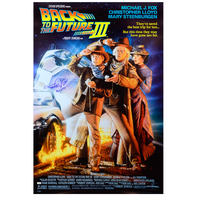 Michael J Fox Autographed Back To The Future Part Iii 27x40 Movie Poster With Rare
