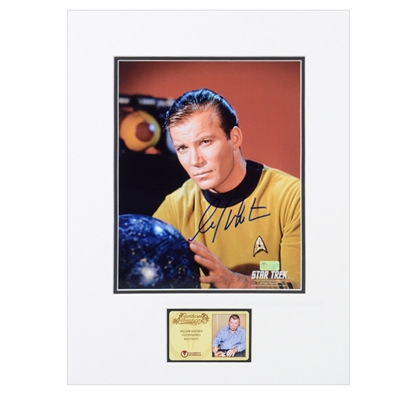 William Shatner Autographed Star Trek Captain Kirk with Star Map 8x10 Matted Photo