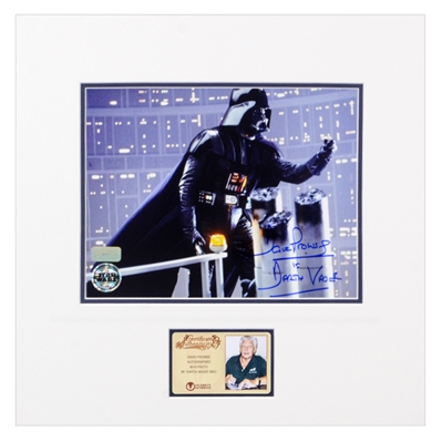 David Prowse Autographed 1980 Star Wars The Empire Strikes Back Darth Vader on Gantry 8x10 Matted Photo