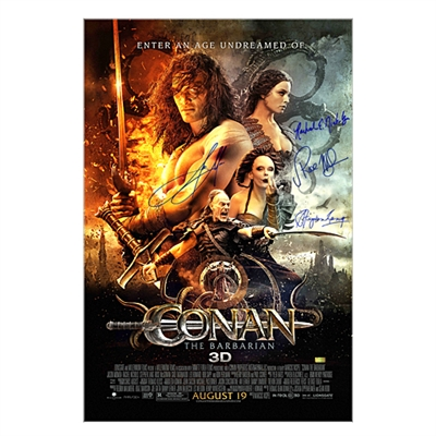 Jason Momoa, Rachel Nichols, Rose McGowan and Stephen Lang Autographed 27×40 Conan the Barbarian Original Movie Poster