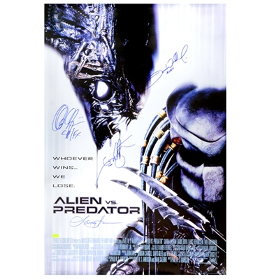Lance Henricksen, Ian Whyte, Tom Woodruff Jr., Alec Gillis Autographed 2004 AVP: Aliens vs Predator 27×40 S/S Movie Poster
