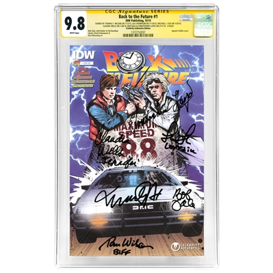 Michael J. Fox, Christopher Lloyd, Tom Wilson, Lea Thompson, Claudia Wells and Bob Gale Autographed Back to the Future #1 with CA Exclusive Cover CGC SS 9.8 (mint)
