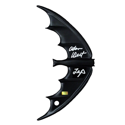 Adam West Autographed 1966 Batman Black Batarang with 'Zap' Inscription