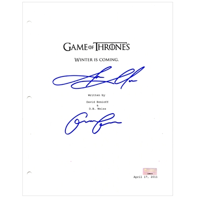 Emilia Clarke and Jason Momoa Autographed Game of Thrones Winter is Coming Script Cover