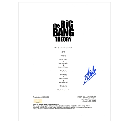 Stan Lee Autographed The Big Bang Theory The Excelsior Acquisition Script Cover