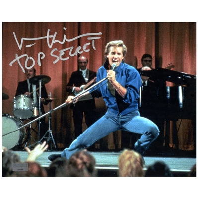 Val Kilmer Autographed 8×10 Singing Photo with Top Secret Inscription