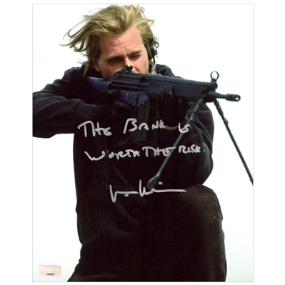 Val Kilmer Autographed Heat 8×10 Action Photo with The Bank is Worth the Risk Inscription