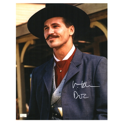 Val Kilmer Autographed Doc Holliday 11×14 Photo with Doc Inscription