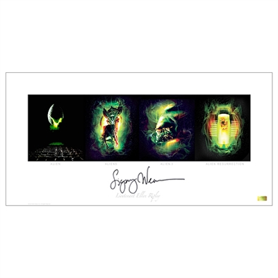 Sigourney Weaver Autographed 12×24 Alien Quad Art Print- Proof