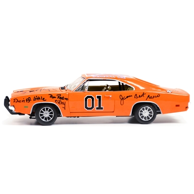 Schneider, Bach, Wopat, Best, Barris, Colley, Cast Autographed The Dukes of Hazzard 1:18 Scale Die-Cast General Lee