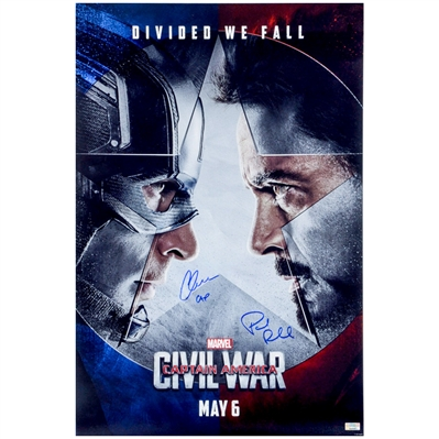 Chris Evans, Paul Rudd Autographed 2016 Captain America Civil War 16x24 Poster