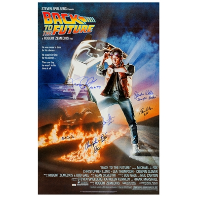 Michael J. Fox, Christopher Lloyd, Thomas Wilson, Lea Thompson, Claudia Wells, Bob Gale Autographed Back to the Future 27x39 Single-Sided Movie Poster