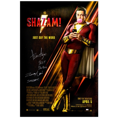 Zachary Levi, Asher Angel Autographed 2019 Shazam! Original 27x40 Double-Sided Movie Poster