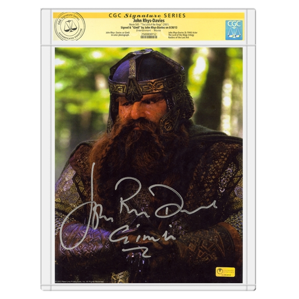 John Rhys-Davies Autographed The Lord of the Rings Gimli 8x10 Photo * CGC Signature Series