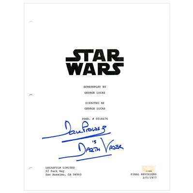 David Prowse Autographed Star Wars Script Cover