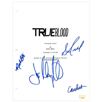 Joe Manganiello, Carrie Preston, Nelsan Ellis and Sam Trammell Autographed True Blood Script Cover