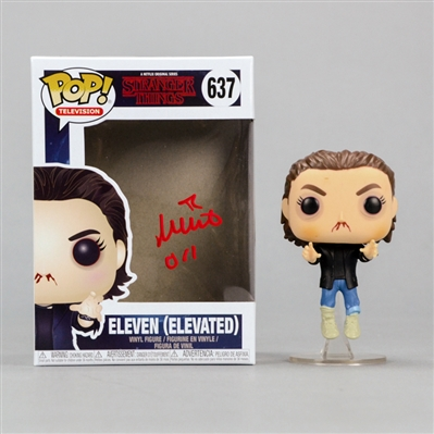 Millie Bobby Brown Autographed Stranger Things Eleven-Elevated POP Vinyl Figure #637 with 011 Inscription