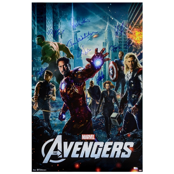Marvels The Avengers Cast Autographed 2012 Avengers 24x36 Movie Poster * Hemsworth, Gregg, Ruffalo, Evans, Hiddleston, Renner, Bettany, Smulders, Stan Lee