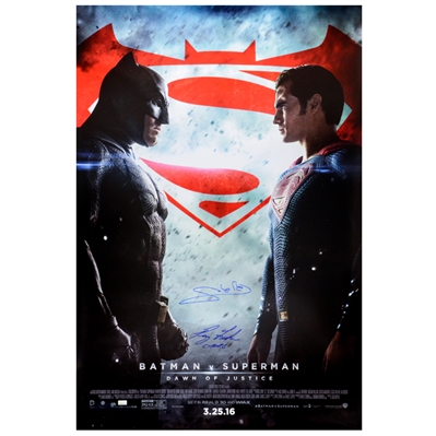 Gal Gadot, Ray Fisher Autographed Batman v Superman: Dawn of Justice Original 27x40 Double-Sided Movie Poster