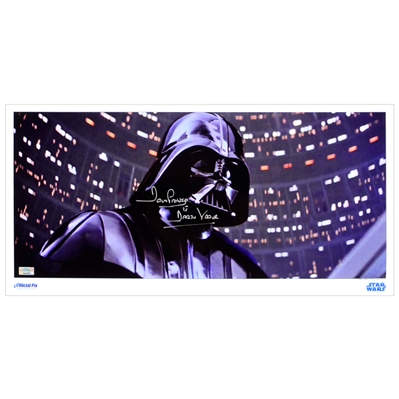 David Prowse Autographed Star Wars Darth Vader Cloud City Duel 20x10 Metallic Photo