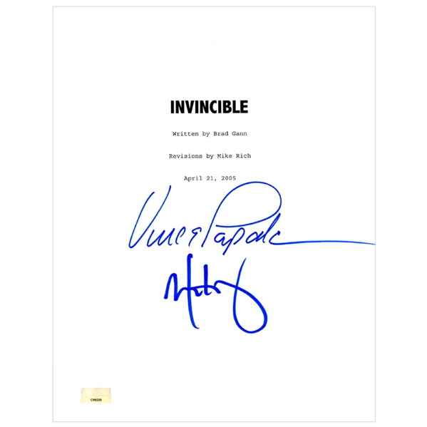Mark Wahlberg, Vince Papale Autographed 2006 Invincible Script Cover