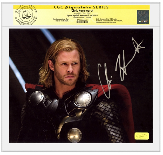 Chris Hemsworth Autographed 8×10 Thor Movie Scene Photo * CGC Signature Series