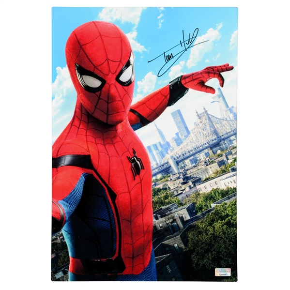 Tom Holland Autographed Spider-Man Homecoming 12x18 CinaPanel