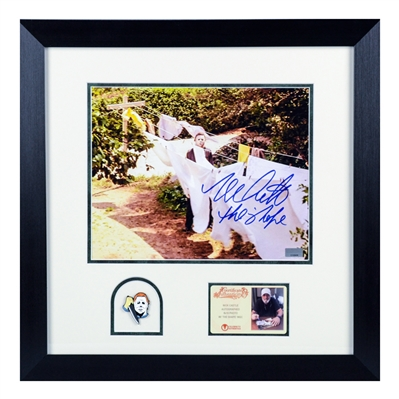 Nick Castle Autographed Halloween The Shape 8x10 Photo Framed with Michael Myers Pin