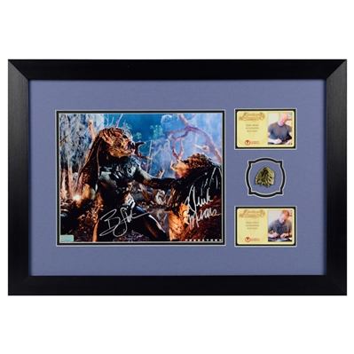 Derek Mears, Brian Steele Autographed Predators 8x10 Photo Framed with Mondo Predator Pin