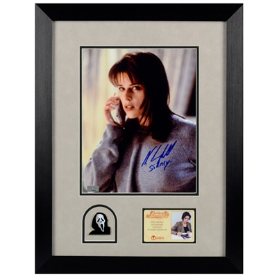 Neve Campbell Autographed Scream Sidney 8x10 Photo Framed with Ghost Face Pin