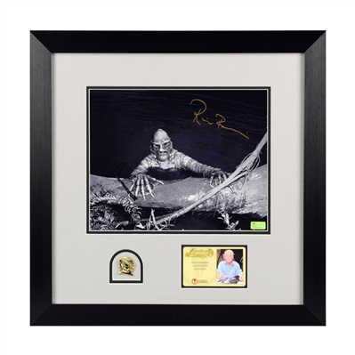 Ricou Browning Autographed Creature From The Black Lagoon 8x10 Photo Framed with Mondo Gill Man Pin