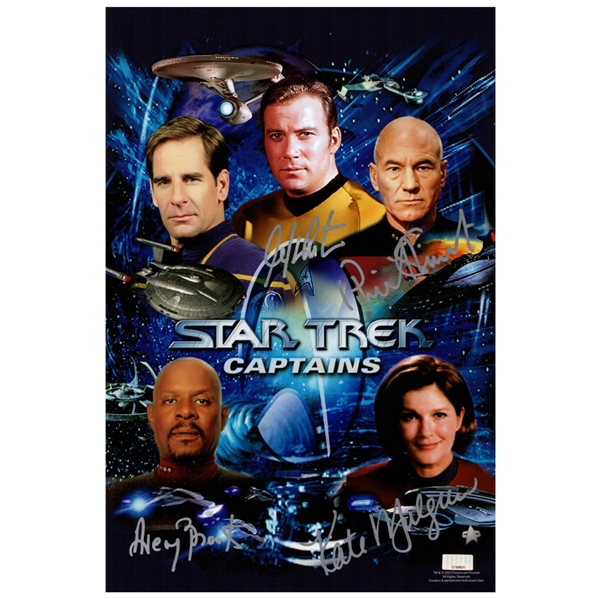 William Shatner, Patrick Stewart, Kate Mulgrew, Avery Brooks Autographed Star Trek Captains 10×15 Photo