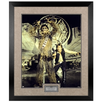 Harrison Ford, Peter Mayhew Star Wars Han Solo & Chewbacca 16x20 Framed Photo