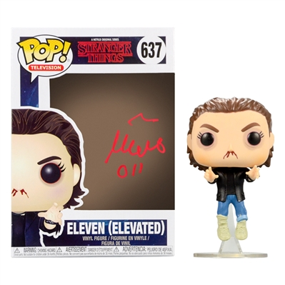 Millie Bobby Brown Autographed Stranger Things Eleven POP Vinyl Figure #637 with 011 Inscription