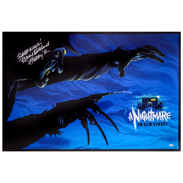 Robert Englund Autographed A Nightmare on Elm Street 24x36 Mondo Poster with Sleep Kills - Freddy Inscriptions