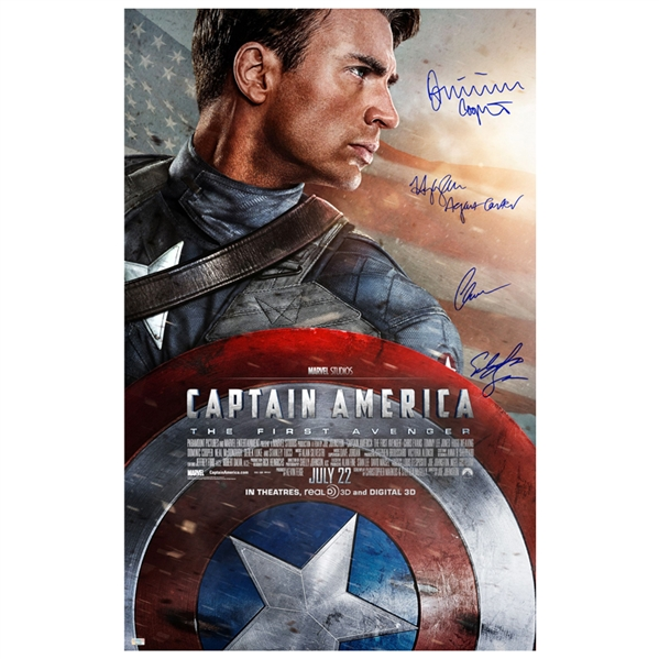 Chris Evans, Sebastian Stan, Hayley Atwell and Dominic Cooper Autographed Captain America: The First Avenger Original 27x40 Double-Sided Movie Poster