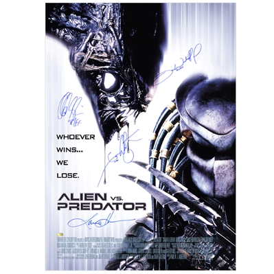 Lance Henriksen, Ian Whyte, Tom Woodruff Jr., Alec Gillis Cast Autographed Aliens vs Predator AVP Single-Sided 27x40 Movie Poster
