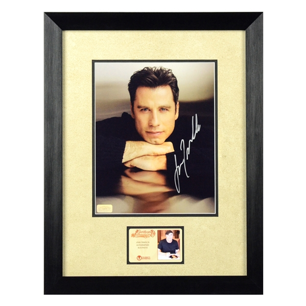 John Travolta Autographed Portrait 8x10 Framed Photo