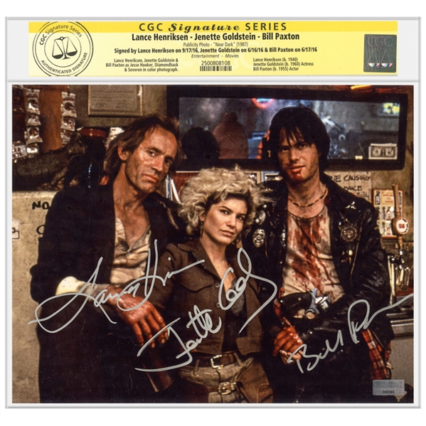 Bill Paxton, Jenette Goldstein, Lance Henriksen Autographed 1987 Near Dark 8x10 Photo * CGC SS