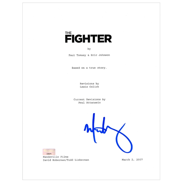Mark Wahlberg Autographed 2010 The Fighter Script Cover