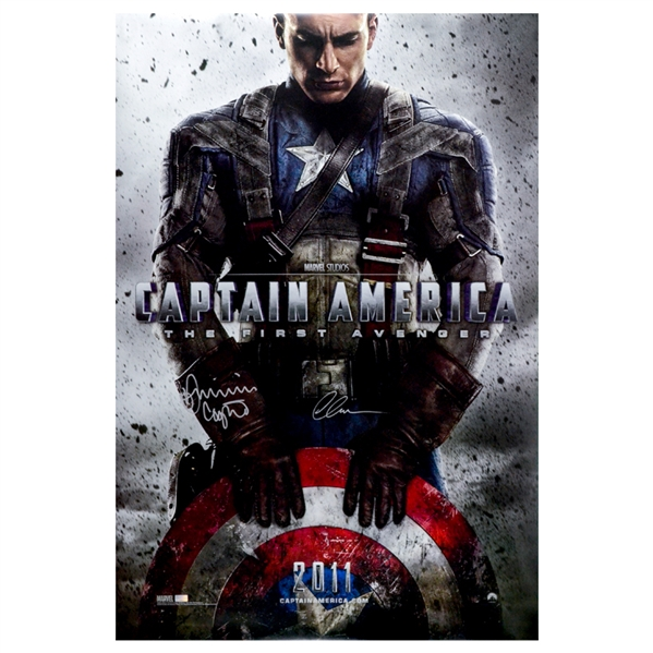 Chris Evans and Dominic Cooper Autographed 27×40 Captain America: 2011 The First Avenger Original Movie Poster