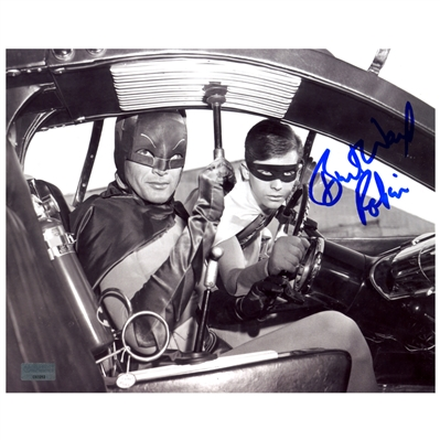 Burt Ward Autographed Batman and Robin Black & White 8x10 Photo with Robin Inscription