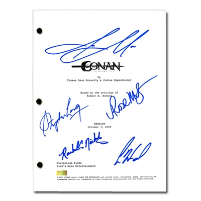 Jason Momoa, Rose McGowan, Rachel Nichols, Stephen Lang, Leo Howard Conan the Barbarian Cast Autographed 2011 Conan the Barbarian Full Script