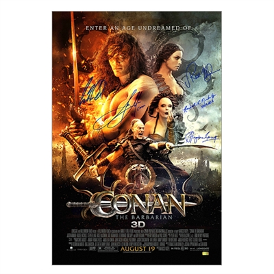 Jason Momoa, Rose McGowan, Stephen Lang, Rachel Nichols, Leo Howard Cast Autographed 2011 Conan the Barbarian 16x24 Movie Poster